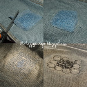how to patching holes in knees of jeans the happy scraps. Black Bedroom Furniture Sets. Home Design Ideas