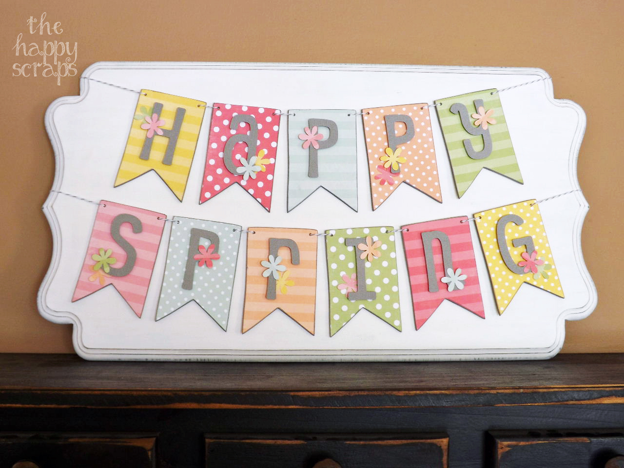 Happy Spring Banner on Shaped Plaque