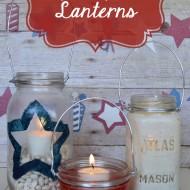Mason Jar {Red, White, & Blue} Lanterns
