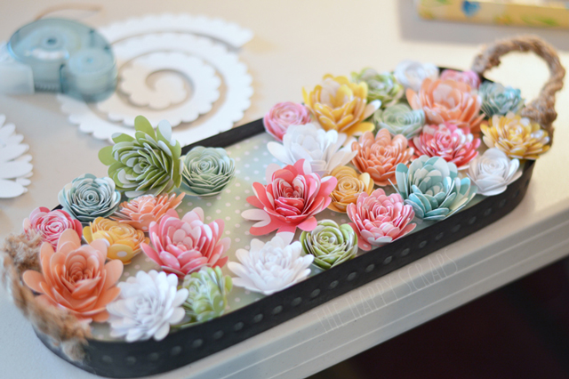 hot glue paper flowers