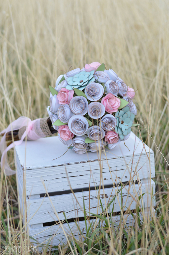 DIY Paper Bridal Bouquet - The Happy Scraps