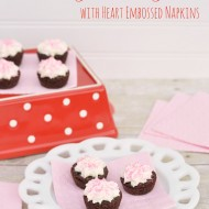Valentine Brownie Bites with Heart Embossed Napkins