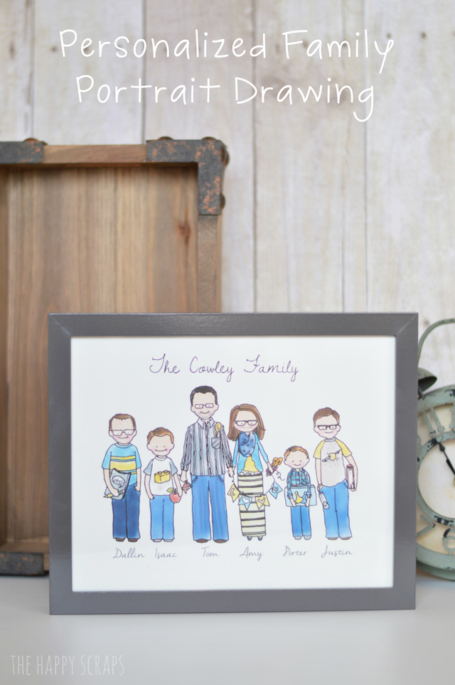personalized family portrait drawing the happy scraps