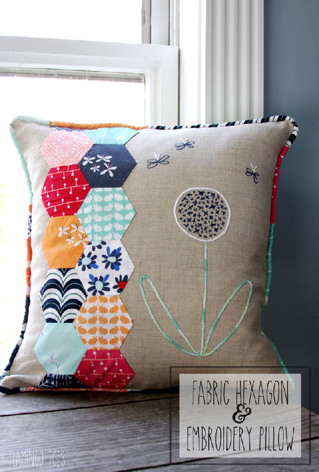 Fabric-Hexagon-and-Embroidery-Pillow