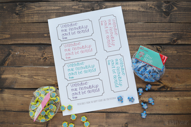 Non-Candy Valentine's are the way to go. Stop by The Happy Scraps to print out these cute valentine's and have the kids cut out and put them together.