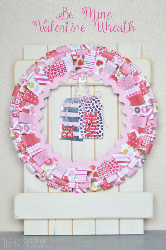 Creating this Be Mine Valentine Wreath is simple and will be a fun piece to add to your Valentine's day decor. Get the tutorial at The Happy Scraps.