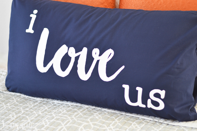 Create a statement piece by making a master bedroom pillow. Learn how to make this I Love Us pillow from @thehappyscraps.