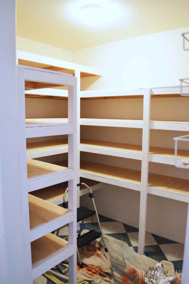 Creative DIY Functional Pantry Shelving with this tutorial from The Happy Scraps. Learn how to use cheaper wood and still get a nice looking pantry.