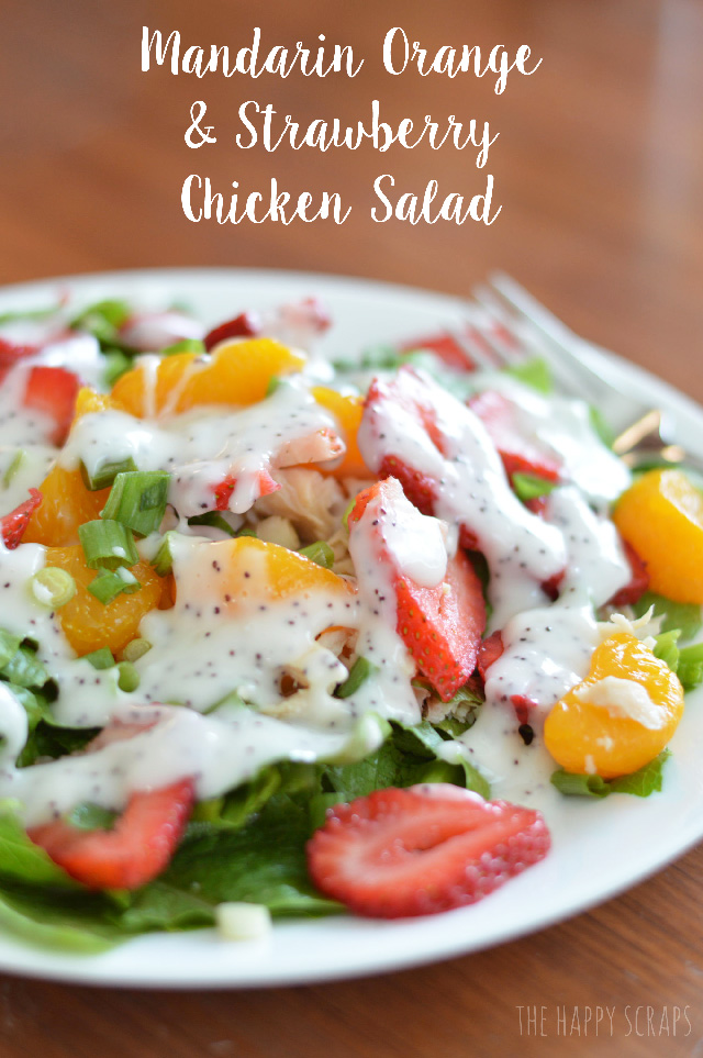 This Mandarin Orange & Strawberry Chicken Salad is SOOO yummy! You'll want to eat it everyday for lunch, after the first time you try it.