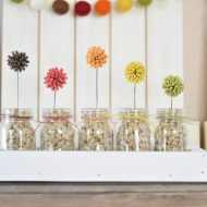 Fall Flower Decor with Mini Jars