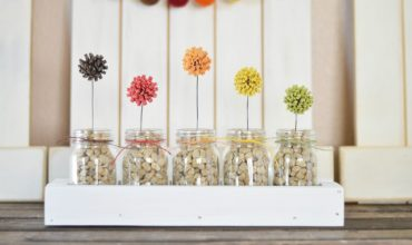Fall Flower Decor with Mini Jars