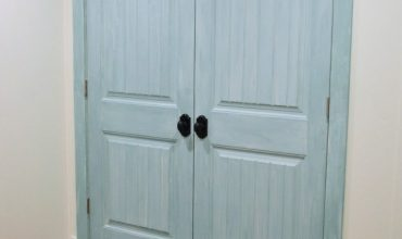 Milk Painted Laundry Closet Doors
