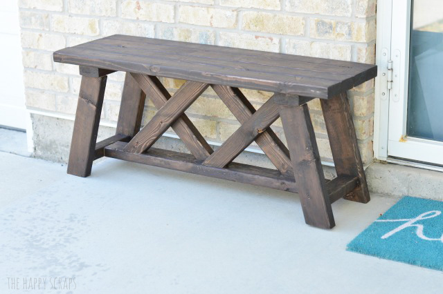 Diy front porch bench the happy scraps diy front porch bench solutioingenieria Image collections