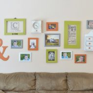 Colorful Family Room Gallery Wall