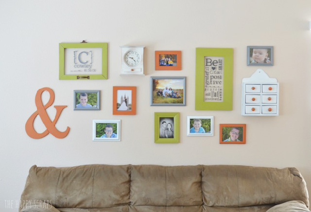 Putting together a Colorful Gallery Wall is a great way to add some color to a room. This Green, Orange, Gray & White Gallery wall is so fun!