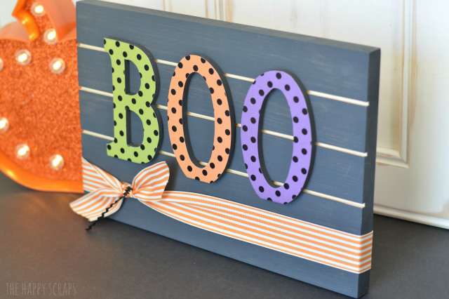 This BOO Slat Sign is so simple to make, and comes together really quickly. It's the perfect addition to any Halloween decor.