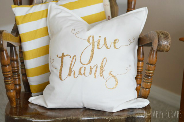 Creating pillows for different holidays and seasons is simple. Stop by the blog and see how easy this Give Thanks Pillow is to make!
