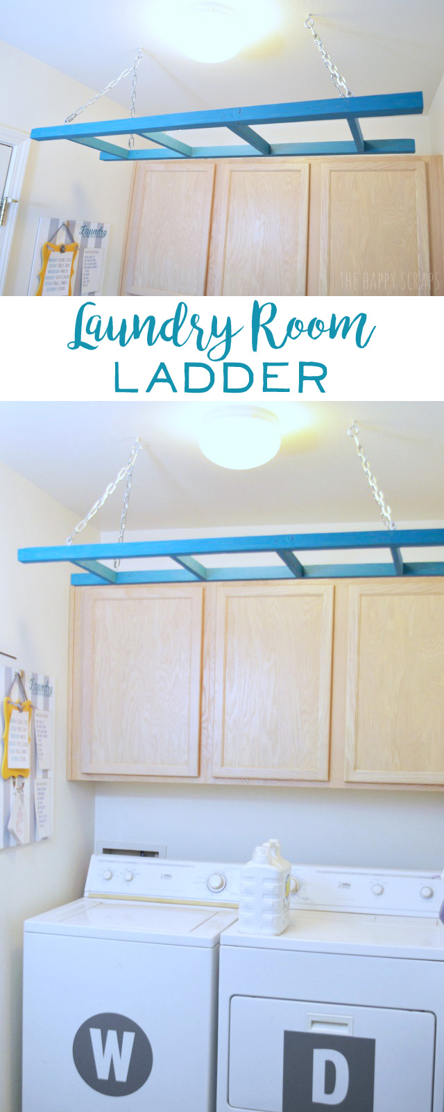 Laundry Room Ladder - The Happy Scraps