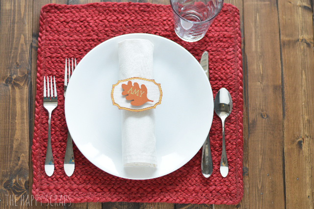 With the help of the Cricut Explore Air 2, you'll have these Thanksgiving Napkin Ring Place Cards put together in no time! They are so easy to make!