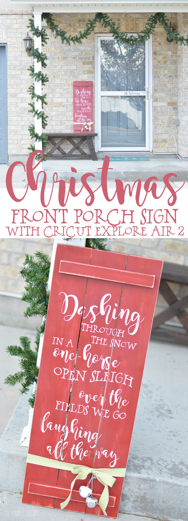 Christmas Front Porch Sign With Cricut The Happy Scraps