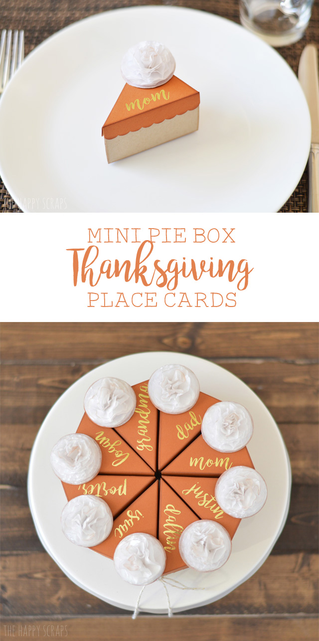 Mini Pie Box Thanksgiving Place Cards. They would be perfect to fill up with some nuts to snack on before the big Thanksgiving meal is ready.