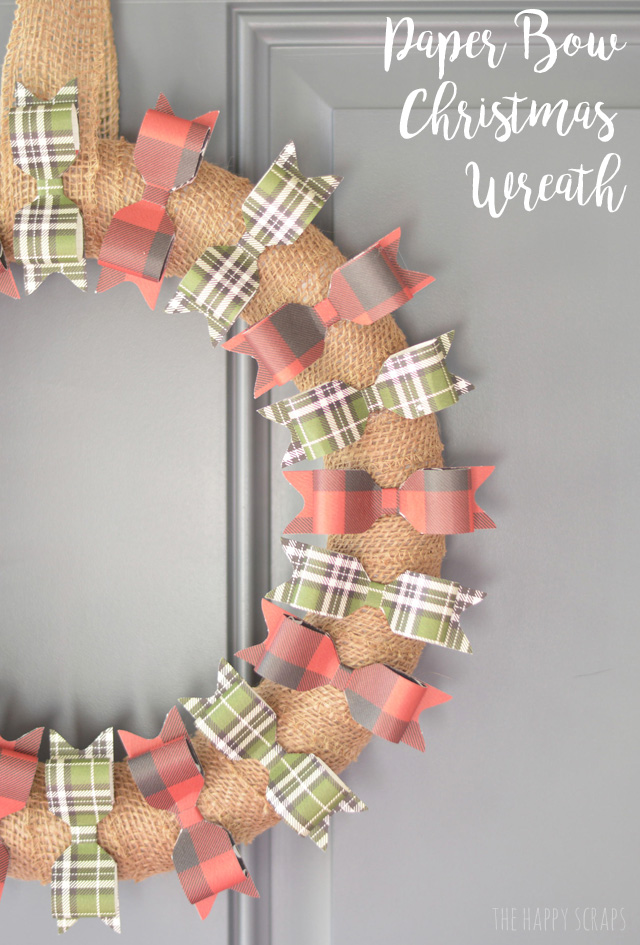 Adorn your front door with this simple + cute Paper Bow Christmas Wreath this holiday season. I'm sharing the simple tutorial on the blog.