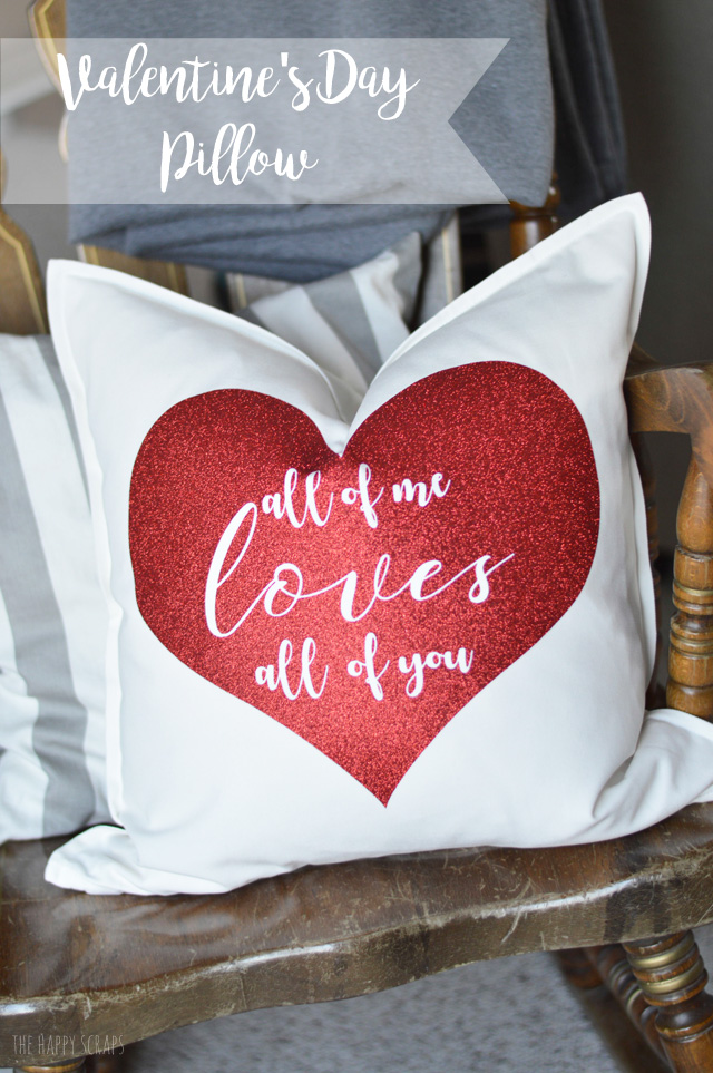 glitter iron on vinyl is so fun to work with its mess free and - Valentine Pillow