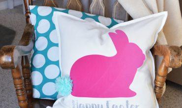 Pom Pom Tail Bunny Rabbit Easter Pillow