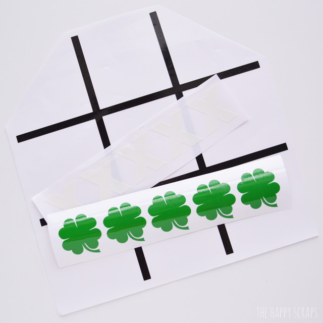 Tic Tac Toe is always fun to play + it's fun to play with window cling too. Why not play it for St. Patrick's Day, the kids will love it!