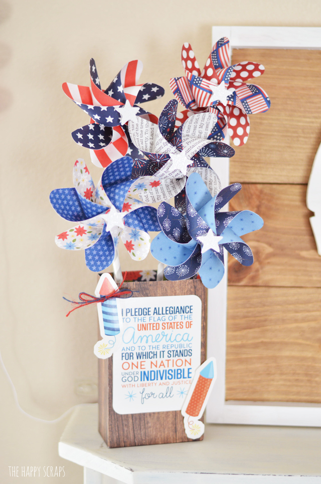 This Red, White & Blue Paper Pinwheel Decor is simple to put together, and makes for cute decor for Independence Day. Make one today!