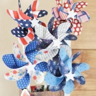 Red, White & Blue Paper Pinwheel Decor