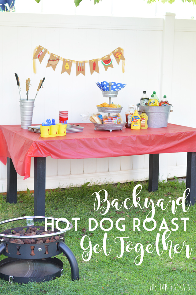 Put together a Backyard Hot Dog Roast Get Together to have a fun night with friends and neighbors + make some cute decor to go along with it.