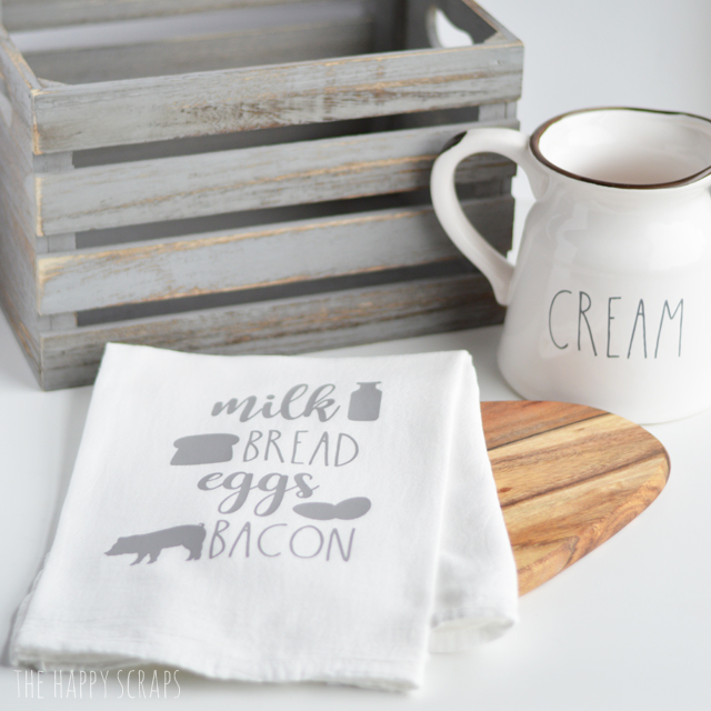 Creating these cute Farmhouse Inspired Kitchen Towels is simple and fun to do. You'll have some of your own put together in no time!