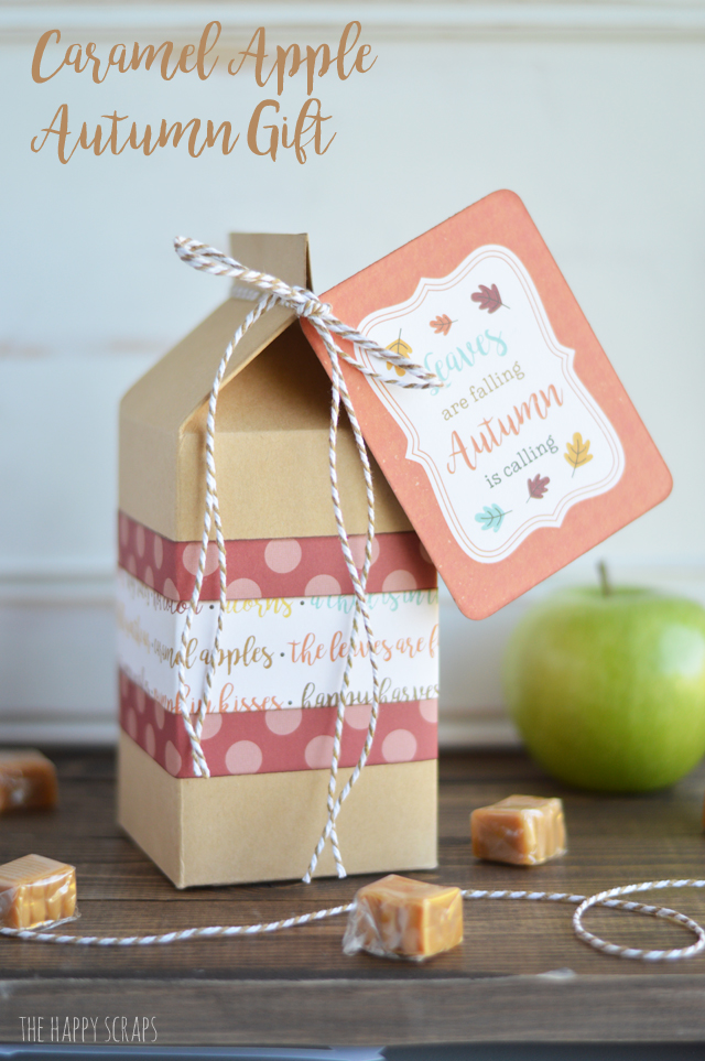 Putting together this Caramel Apple Autumn Gift is quick and easy and it's the perfect thing to give a friend or neighbor for any occasion.