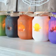 Painted Halloween Luminary Jars