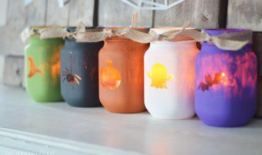 Painted Halloween Luminary Jars