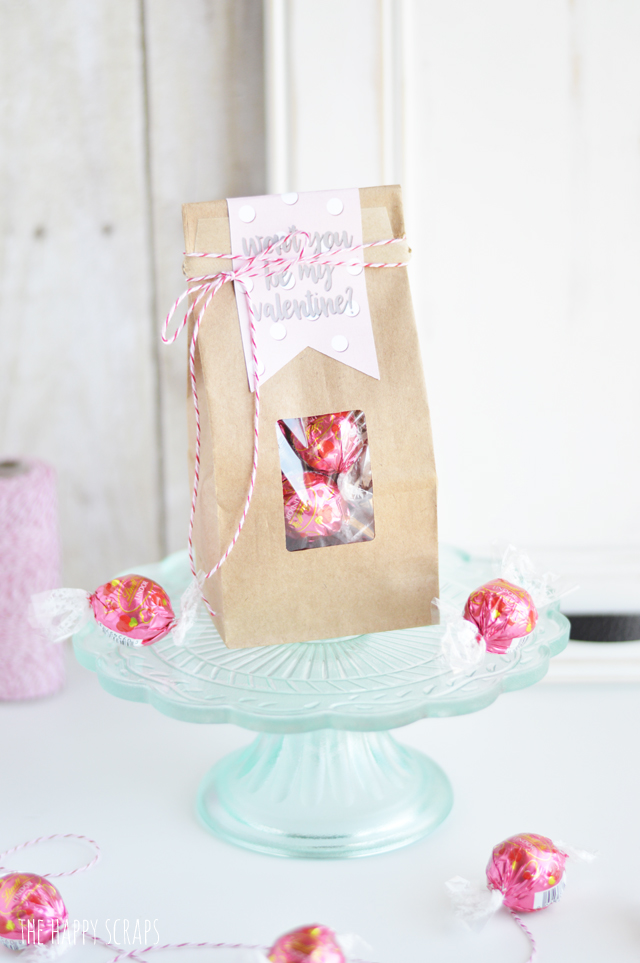 """Putting together this Valentine Treat Bag is simple with this fun """"Won't you be my Valentine?"""" tag. Get the print on the blog, and use your Cricut to cut it out!"""