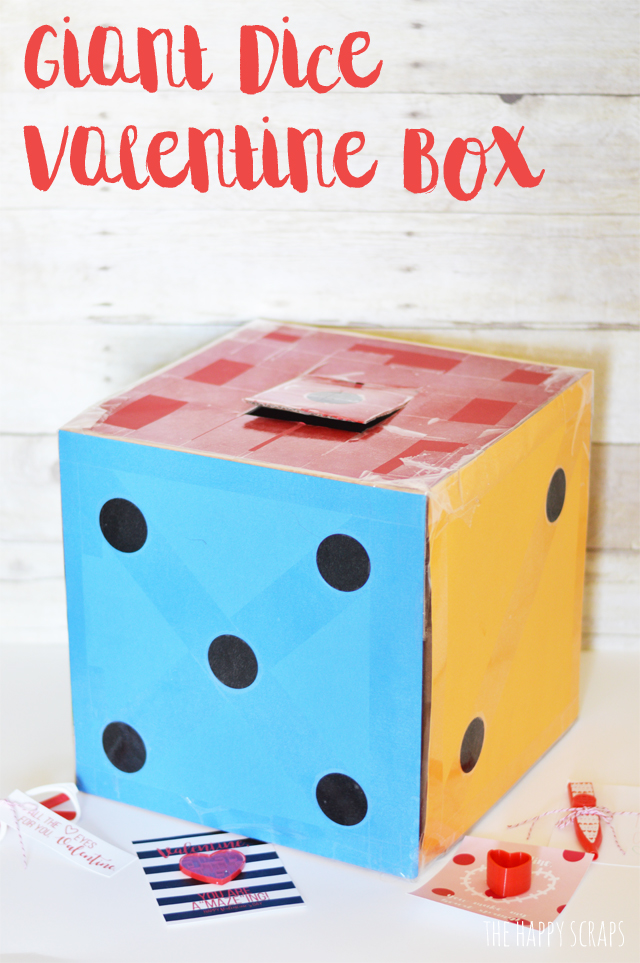 Creating a Giant Dice Valentine Box is simple and it's a fun box for the kids to take to school. All you need is a few basic supplies for this project.