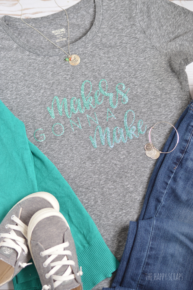 If you're a maker then you need this Glitter Iron-on Vinyl Makers Gonna Make Graphic Tee added to your closet! It's simple to create using your Cricut with the up-loadable cut file I'm sharing.