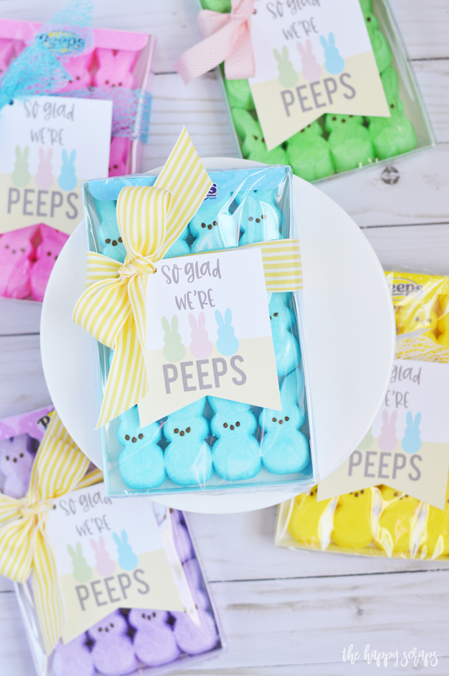 This So Glad We're Peeps Easter Gift is so quick + simple to put together. Grab the printable tag from The Happy Scraps, cut them out, and tie them onto a package of peeps with a cute ribbon.