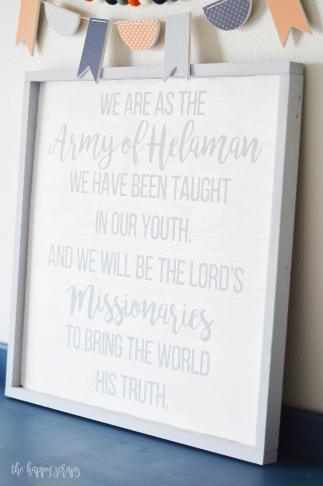 My boys love having this Army of Helaman Bedroom Sign on their wall. It's a great reminder for them. Stop by the blog to learn how to make one for your home.
