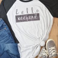 Hello Weekend Shirt with Cricut Patterned Iron-on