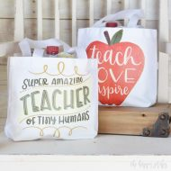 Teacher Appreciation Gift Bag with Cricut Iron-on Designs