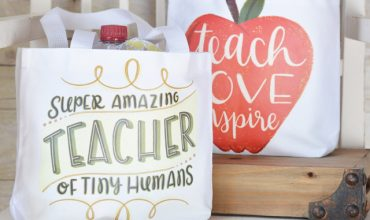 Teacher Appreciation Gift Bag with Cricut Iron-on Designs