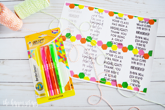 This Highlighter Teacher Appreciation Gift is simple to put together and teachers will love it. It's useful for them and lets them know that you appreciate them!