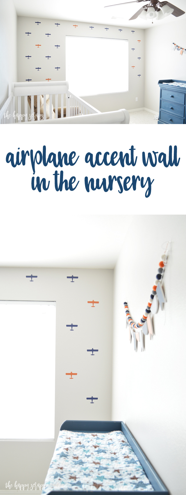 Putting this Airplane Accent Wall together is easier than you think! Using vinyl from Expressions Vinyl and my Cricut to cut them out + it was a breeze to put them on the wall.
