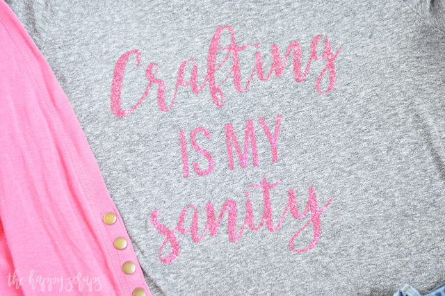 Creating this Crafting is my Sanity Glitter Tee is easy! Get the cut file from the blog and have your cute shirt made in no time!