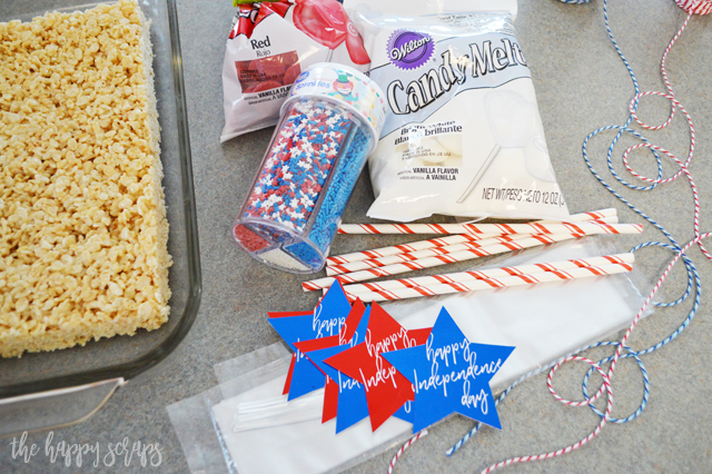 You'll have these 4th of July Rice Krispie Treats put together in no time, and the'll be the hit of the party. Everyone will be enjoying them.