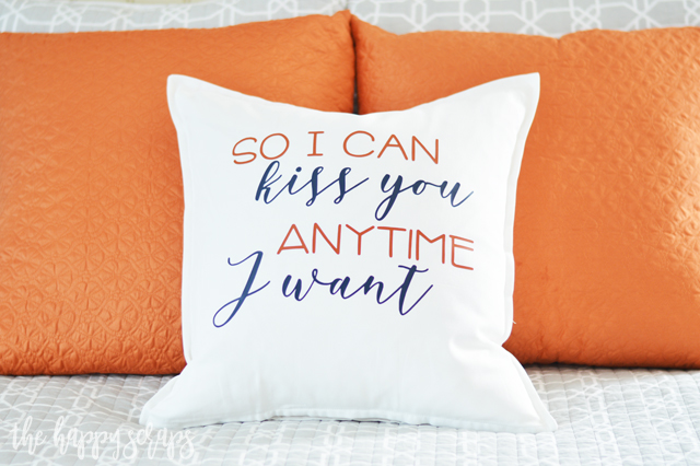 Need a throw pillow for your bed? Make this So I Can Kiss You Master Bedroom Throw Pillow. It's the perfect addition to the Master Bedroom.