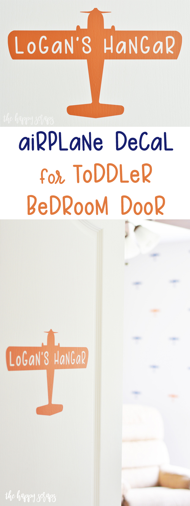 This simple Airplane Decal for Toddler Bedroom Door is a super quick and easy project that is sure to make your toddler smile.
